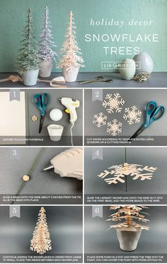 Our paper snowflake trees are so cute! Thanks to our friends at PaperPapers, you can get this pattern for free and craft your own for the holidays. decor diy Paper Snowflake Trees for Your Holiday Décor - Lia Griffith Kids Crafts, Crafts For Teens, Arts And Crafts, Paper Crafts, Tree Crafts, Craft Projects, Christmas Crafts For Adults, Craft Ideas, Foam Crafts
