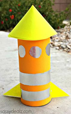 Cheap Crafts For Kids | Toilet Paper Roll Rocket