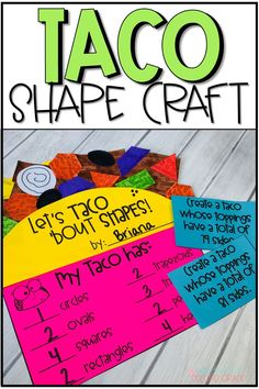 Pin This pin shows how students are able to use different shapes to personalize their tacos. Shape Activities Kindergarten, 2d Shapes Activities, Geometry Activities, Teaching Math, Student Crafts, Math Crafts, Math Projects, Arte Elemental, Tacos
