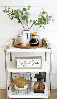What cute idea! A coffee bar cart to free up space on the counters! This coffee bar cart has all the coffee essentials and is adorably decorated in a farmhouse style.