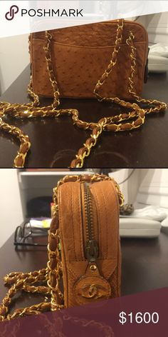 Vintage Chanel Ostrich Leather Bag Vintage Chanel bag from 1980s. Small pen mark on inside lining but otherwise perfect condition. Legible serial number inside. CHANEL Bags Shoulder Bags