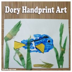 Dory handprint craft and artwork for preschool and kindergarten