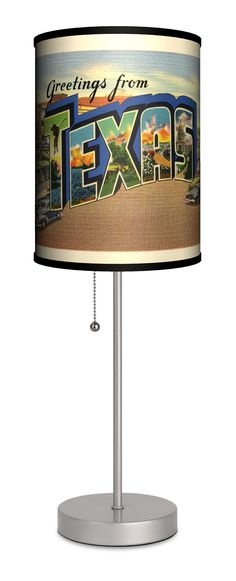 "Travel Texas Postcard 20"" H Table Lamp with Drum Shade"