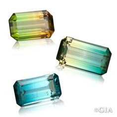 """Tourmaline gems grow in elongated crystals, so are most often cut into long rectangular shapes known as """"emerald cuts.""""  #GIABirtstones (1/22/13)"""