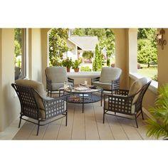 Hampton Bay Lynnfield 5-Piece Patio Conversation Set with Gray Beige Cushions