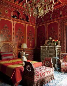 Pierre Berge's bedroom designed by Bill Willis at Villa Oasis, Morocco.