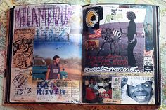 dan eldon's journal... follow the original link to see more and learn about this amazing photojournalist and artist.