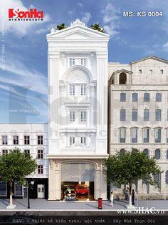 Ý tưởng thiết kế kiến trúc của khách sạn đẹp quy mô mini phong cách Pháp cổ điển