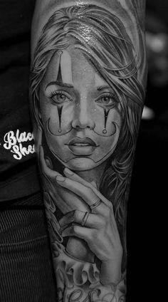 lowrider clown girl tattoos – Tattoo Tips Badass Tattoos, Leg Tattoos, Body Art Tattoos, Girl Tattoos, Sleeve Tattoos, Payasa Tattoo, Clown Tattoo, Tattoo Drawings, Inca Tattoo