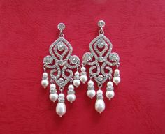 Bridal Chandelier Earrings, Swarovski Pearl, Rhinestone, Crystal, Bridal/Bridesmaids. $36.00, via Etsy.