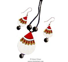 Necklace Set with Earrings Terracotta Handmade Drop White, Maroon, and Golden Indian Handicraft from West Bengal in East India