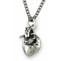 Show your heart (literally!) this Valentine's Day with this Anatomical Human Heart Antique Silver Necklace with Gothic Chain. Mens Silver Necklace, Cute Necklace, Men Necklace, Fashion Necklace, Fashion Jewelry, Pendant Necklace, Necklace Chain, Silver Ring, Nameplate Necklace