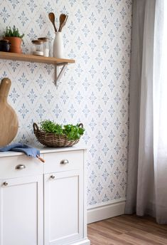 Adorable 40 Extraordinary Wallpaper Design Ideas To Try In The Kitchen Wallpaper Stores, Old Wallpaper, Kitchen Wallpaper, Wallpaper Samples, Scandinavian Wallpaper, Swedish Wallpaper, Cottage Wallpaper, Wall Decor, Room Decor