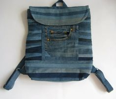 Denim Back Pack Denim Bag Denim Backpack Denim Boho Bag Recycled Bag Mini Backpack Patchwork Bag Quilted Bag Denim Hippie Bag Gift for Her