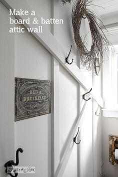 How to make a board and batten feature attic wall... easily! via FunkyJunkInterior...