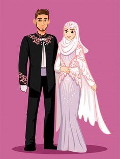 The national bride wears black, white an... | Premium Vector #Freepik #vector #wedding #woman #man #character Muslim Wedding Cards, Muslim Wedding Invitations, Couples Musulmans, Muslim Couples, Wedding Couples, Muslim Brides, Muslim Girls, Wedding Couple Cartoon, Muslim Couple Photography