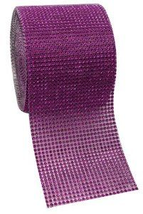 "Purple Diamond Rhinestone Mesh Ribbon, Wedding Ribbon, Diaper Cake Ribbon, 4.75"" x 10 Yards, 24 Row, 1 Roll"