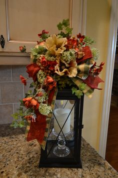 Red And Gold Poppy Lantern Swag by kristenscreations on Etsy