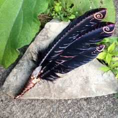 Raven wing inspired, Hand painted feather, smudge wand, smudge feathers, feather tool, smudging tool, Lumerian quartz, wire wrapped, OOAK by Celestialwolfsshop on Etsy https://www.etsy.com/listing/244763337/raven-wing-inspired-hand-painted-feather