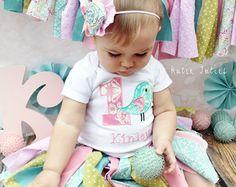 The Shabby Chic Fabric Tutu Skirt & Headband- Shabby Chic, Pink, Aqua, Green, Damask, polka dot, Birthday, cake smash, Girl, Infant, Toddler