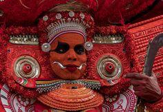 Theyyam portrait - Theyyam performer close up.