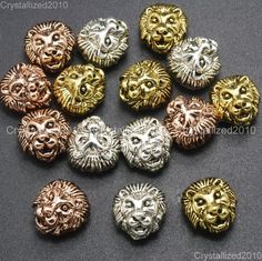 Solid metal lion head #bracelet necklace #connector charm #beads silver rose gold,  View more on the LINK: http://www.zeppy.io/product/gb/2/151954380465/