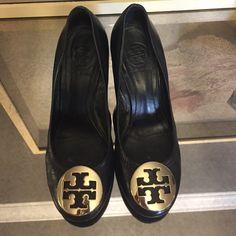 Gorgeous Tory Burch Wedge heels Black leather Tory Burch Wedge heels!!! Great condition! Tory Burch Shoes Heels