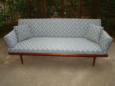 Mid Century Danish Modern Denmark Peter Hvidt for France & Son Sofa Studio Couch   eBay. If I ended up doing a small-scale sofa, this would be lovely--though the upholstery is faded.