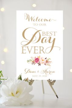 Wedding Welcome Sign Best Day Ever Sign by CharmingEndeavours Wedding Stationary, Wedding Programs, Wedding Themes, Wedding Signs, Wedding Favors, Wedding Decorations, Wedding Ideas, Wedding Stuff, Dream Wedding