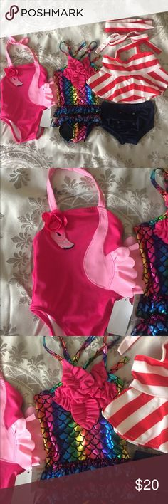 Infant girls swimsuits New. Never worn. Flamingo is Gymboree, other 2 are from a local boutique.  Size 3-6mo. Swim One Piece