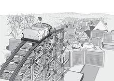 View over the shoulder of a man in a roller coaster car above the Las Vegas strip. Half-complete rollercoaster trusses overlooking desert wind farm.  Image from Stuart McMillen's comic Peak Oil (2015), from the book Thermoeconomics (2017).