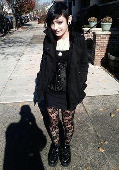 ★ ★ ★ ★ ★ five stars (black floral lace pantyhose, black creepers, black mini dress, black corset, black pea coat, white pendant necklace, black gauges) brings the graveyard to the streets