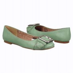 Women's Fossil Maddox Flat Sea Green Leather Shoes.com