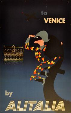 Venice by Alitalia, 1956 - original vintage poster by Ceini Mario listed on AntikBar.co.uk