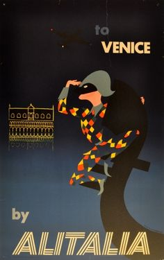 Venice by Alitalia, 1956 - original vintage poster by Ceini Mario listed on AntikBar.co.uk