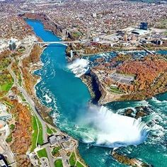 Niagra Falls - Best picture I've seen of it! Niagara Falls American Side, Niagara Falls Ny, Niagara Waterfall, Canada, Aerial View, Wonderful Places, Vacation Spots, Beautiful World, Beautiful Sky