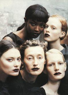 Naomi Campbell, Karen Elson, Shalom Harlow, Kirsten Owen by Peter Lindbergh.