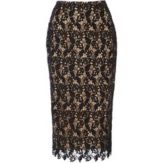 Reem Acra Lace Pencil Skirt (13.276.280 IDR) ❤ liked on Polyvore featuring skirts, black, lace pencil skirt, high waisted skirt, high-waist skirt, reem acra and lacy skirt