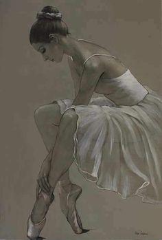 by Katya Gridneva, Ukraine Ballet Drawings, Dancing Drawings, Art Drawings, Ballerina Kunst, Ballerina Painting, Ballerina Drawing, Dancer Drawing, Art Ballet, Ballet Dancers