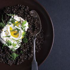 Aptly named beluga lentils look         like little beads of caviar. They cook quickly,         and they hold their shape. Use them in this         recipe, or substitute.