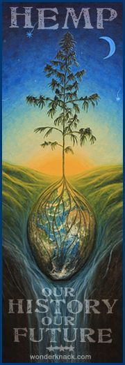 beautiful painting by an activist.   Hemp: our history, our future