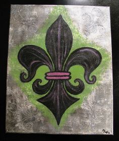 "**This painting sparkles and shimmers beautifully!**  Title: FLEUR DE LIS  Size: 16x20""  Medium: Acrylic Paint with Rhinestone Embelishments, Sparkle Glaze and Fine Crackle  Canvas: Gallery Wrapped Canvas 3/4""  Signed: Artist Signature on bottom right corner"