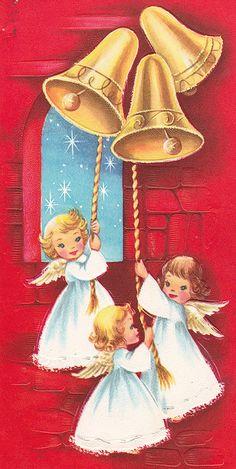 Christmas Angels   Vintage Christmas Card by jerkingchicken, via Flickr