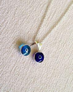 blue evil eye necklace  turkish evils eye necklace  925 by OwlNest, $16.00