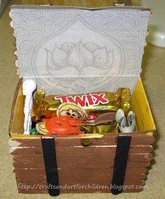 Pirate Crafts: Popsicle Stick Treasure Chest