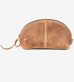 Curved Leather Zip Pouch by Marked on Scoutmob