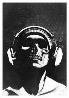 Skull and Headphones 2 - signed studio edition print – Hidden Moves