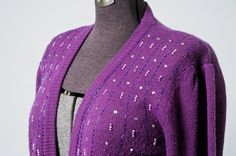 1980s purple puffed sleeve knit cardigan bedazzled with rhinestones, beads and faux pink pearls, vintage button up sweater, size large from InPastTimes