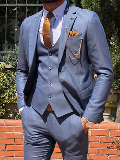 Calvin Slim-Fit Pattered Suit in Blue Calvin Slim-Fit Pattered Suit in Blue – brabion Mens Fashion Suits, Mens Suits, Suits You, Groom Suits, Groom Attire, Men's Fashion, Three Piece Suit, 3 Piece Suits, Blue Slim Fit Suit