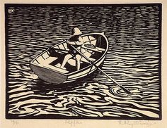 Roy Davies. I think its a woodcut but it could be lino cut, no matter I've always enjoyed how water is depicted in these sorts of prints. Great stuff ;)